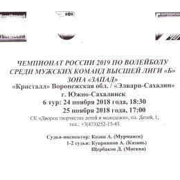 """Кристалл"" (Воронеж) - ""Элвари-Сахалин"" (Южно-Сахалинск)"